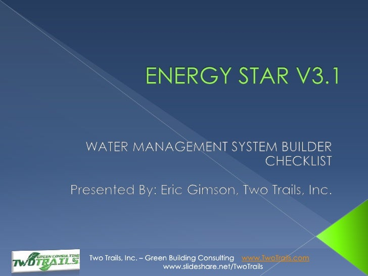Energy Star v3.1 | Waste Management System Builder Checklist - Eric Gimson