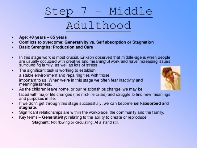 erik erikson and late adulthood Erik erikson's stages of social-emotional development  this page presents an overview of the developmental tasks involved in the social and emotional development of children and teenagers which continues into adulthood.