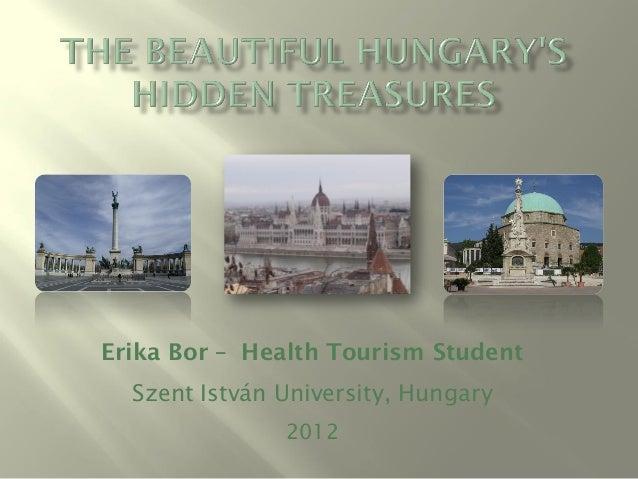 Erika Bor – Health Tourism Student  Szent István University, Hungary               2012
