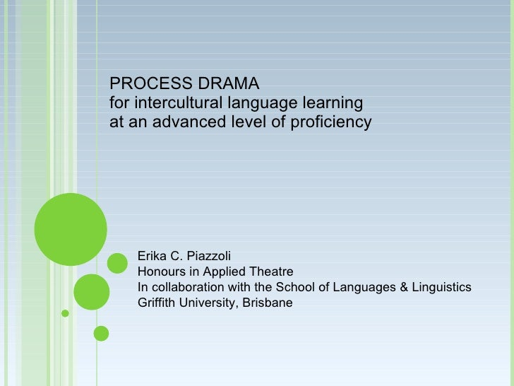 PROCESS DRAMA for intercultural language learning at an advanced level of proficiency        Erika C. Piazzoli    Honours ...