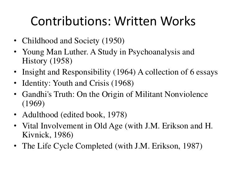 an introduction to the comparison of work by freud and erikson An introduction to the comparison of work by freud and erikson pages 3 words 1,799 view full essay more essays like this: sigmund freud, erikson, freud and erikson not sure what i'd do without @kibin - alfredo alvarez, student @ miami university exactly what i needed - jenna kraig, student @ ucla wow most helpful essay resource ever.