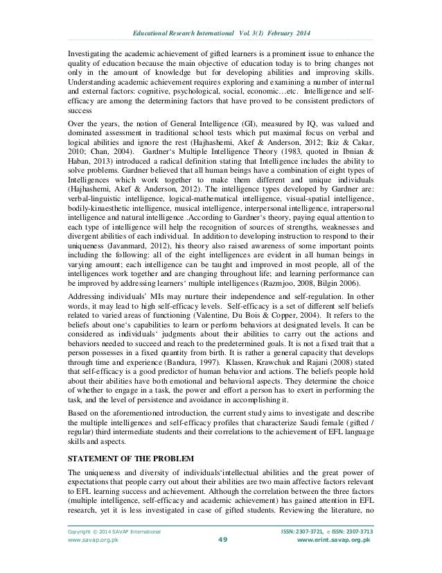 multiple intelligence thesis This thesis contains two distinct but interrelated works: a research- based written document  definitions of howard gardner's multiple intelligence categories.