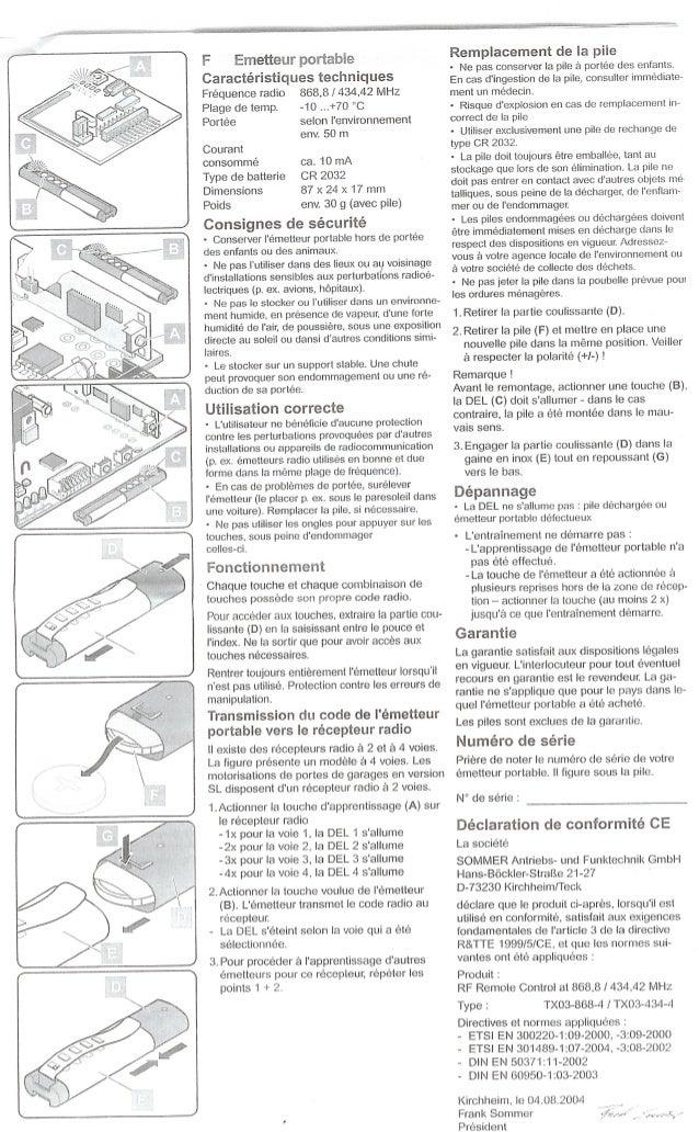 Eripm notice émetteur télécommande sel101827