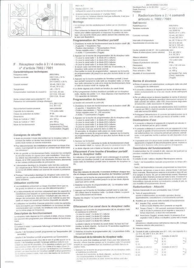Eripm notice récepteur télécommande p2 sel102028