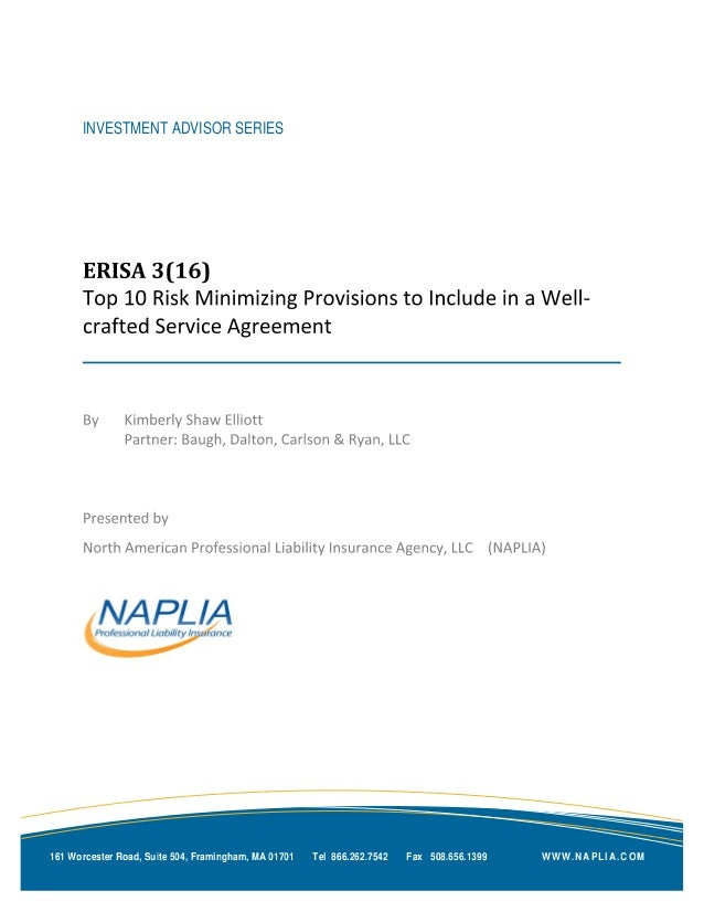 ERISA  3(16) | Top 10 Provisions to Include in a Well-crafted Service Agreement