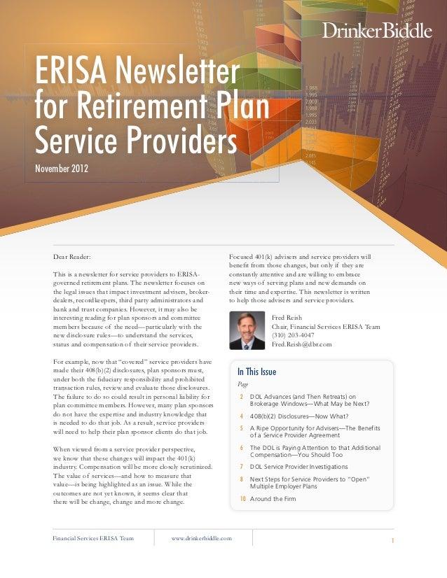 ERISA Newsletterfor Retirement PlanService ProvidersNovember 2012    Dear Reader:                                         ...