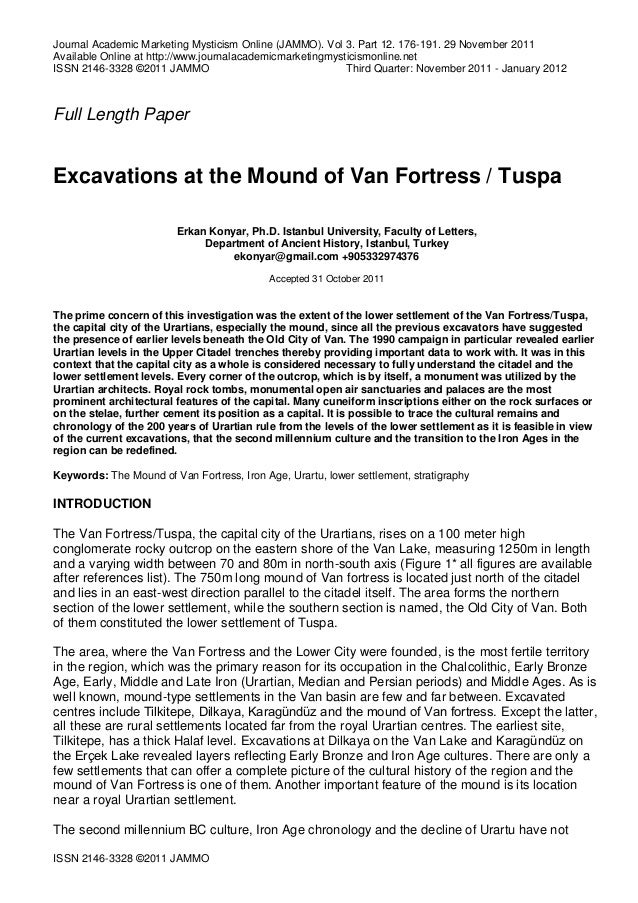 Excavations at The Mound of Van Fortress/Tuspa