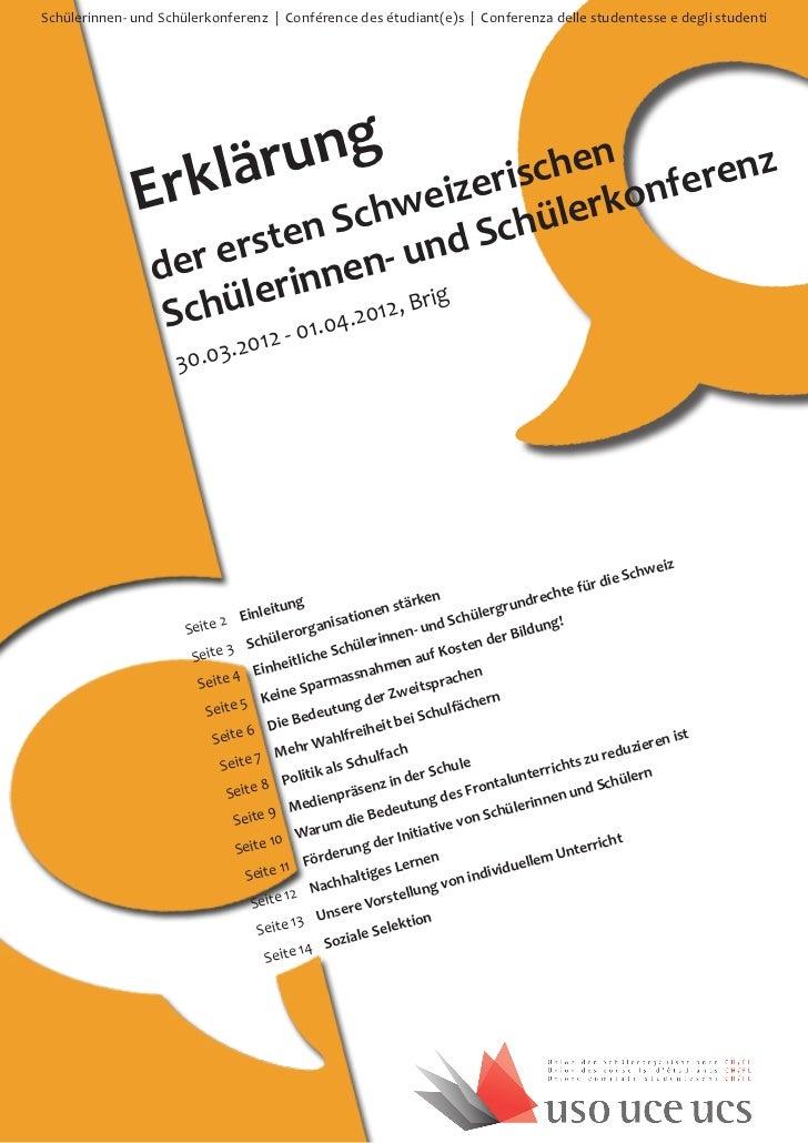 Schülerinnen- und Schülerkonferenz | Conférence des étudiant(e)s | Conferenza delle studentesse e degli studenti          ...