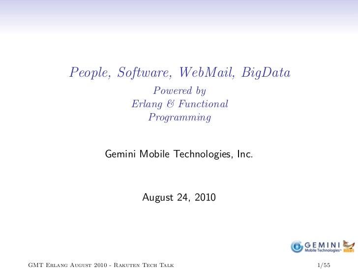 """""""erlang, webmail and hibari"""" at Rakuten tech talk"""