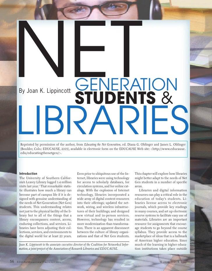 NET  By Joan K. Lippincott                          GENERATION                                                     STUDENT...