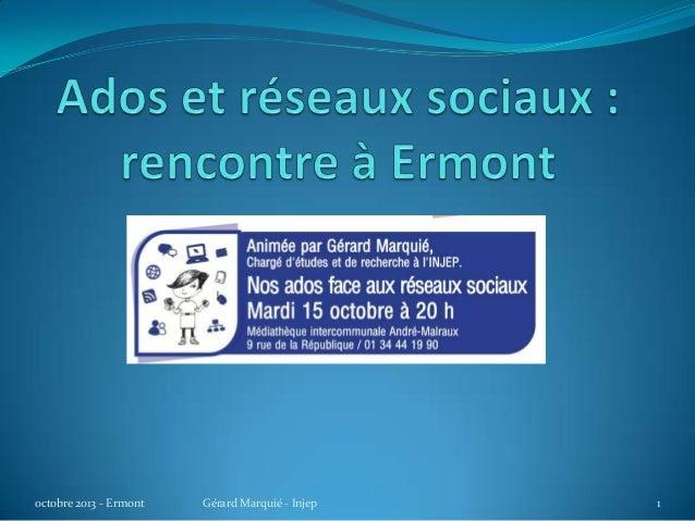 Ados et réseaux sociaux : présentation à Ermont