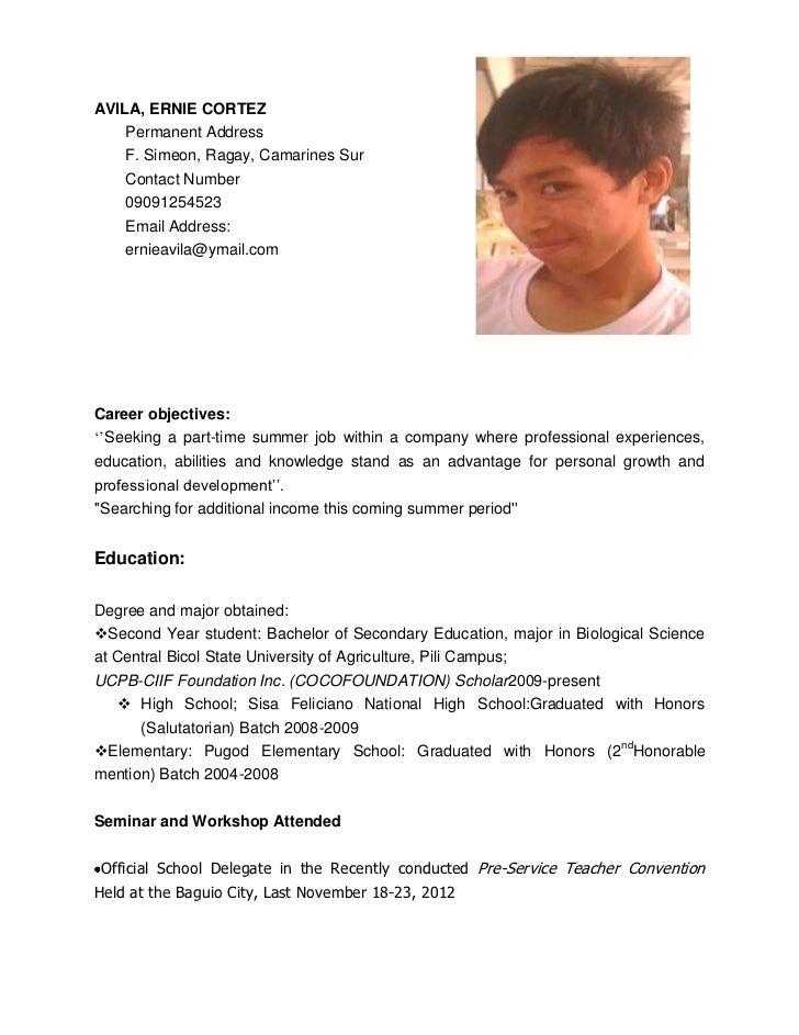 AVILA, ERNIE CORTEZ    Permanent Address    F. Simeon, Ragay, Camarines Sur    Contact Number    09091254523    Email Addr...