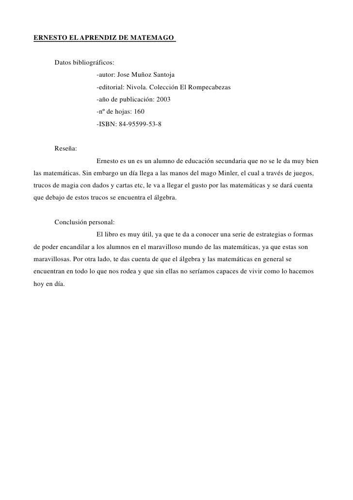 ERNESTO EL APRENDIZ DE MATEMAGO       Datos bibliográficos:                      -autor: Jose Muñoz Santoja               ...