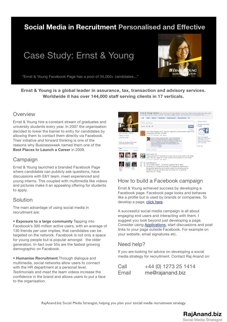 """Social Media in Recruitment Personalised and Effective          Case Study: Ernst & Young       """"Ernst & Young Facebook Pa..."""