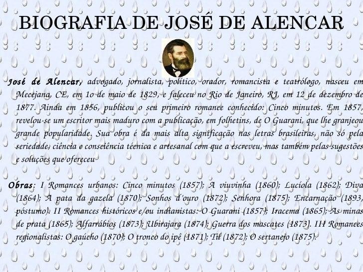 BIOGRAFIA DE JOSÉ DE ALENCAR <ul><ul><li>J osé de Alencar,  advogado, jornalista, político, orador, romancista e teatrólog...