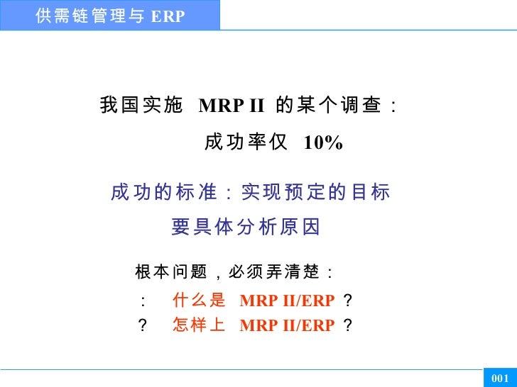 供需链管理与 ERP    我国实施 MRP II 的某个调查:             成功率仅 10%       1 怎样才算成功?     成功的标准:实现预定的目标            为什么没有成功?          2 要具体...