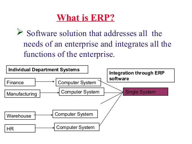 What is ERP?  Software solution that addresses all the needs of an enterprise and integrates all the functions of the ent...