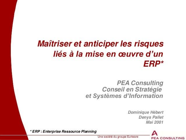 Une société du groupe Euriware Maîtriser et anticiper les risques liés à la mise en œuvre d'un ERP* * ERP : Enterprise Res...