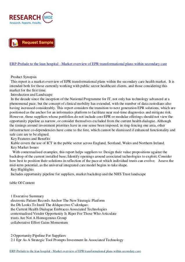 ERP-Prelude to the lean hospital - Market overview of EPR transformational plans within secondary care  Product Synopsis T...
