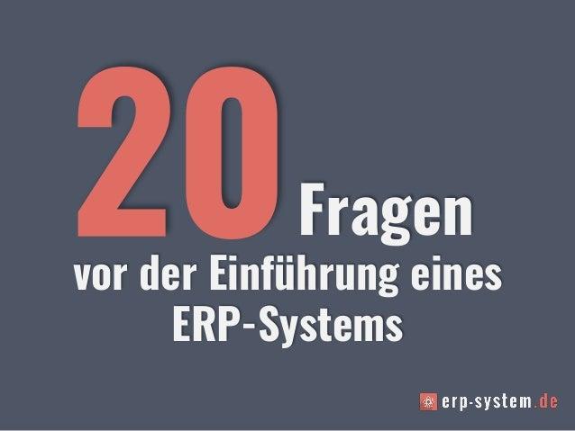 vor der Einführung eines ERP-Systems Fragen
