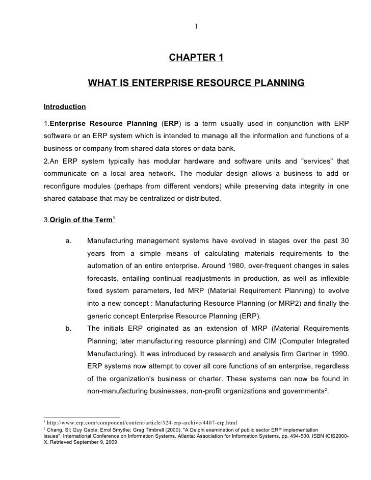 1                                                         CHAPTER 1                     WHAT IS ENTERPRISE RESOURCE PLANNI...