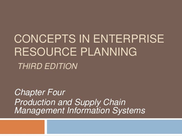 CONCEPTS IN ENTERPRISE RESOURCE PLANNING THIRD EDITION  Chapter Four Production and Supply Chain Management Information Sy...
