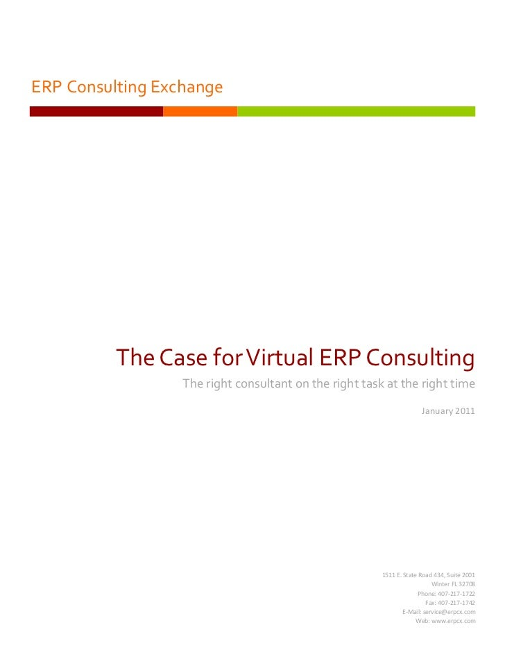 ERP Consulting Exchange          The Case for Virtual ERP Consulting                  The right consultant on the right ta...