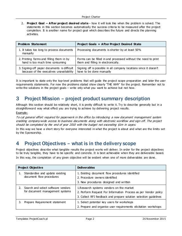software project charter template - erp sap project charter