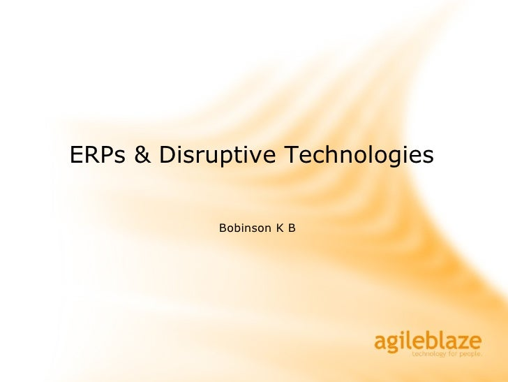 primer to ERPs & disruptive technolgoies (Cloud computing)