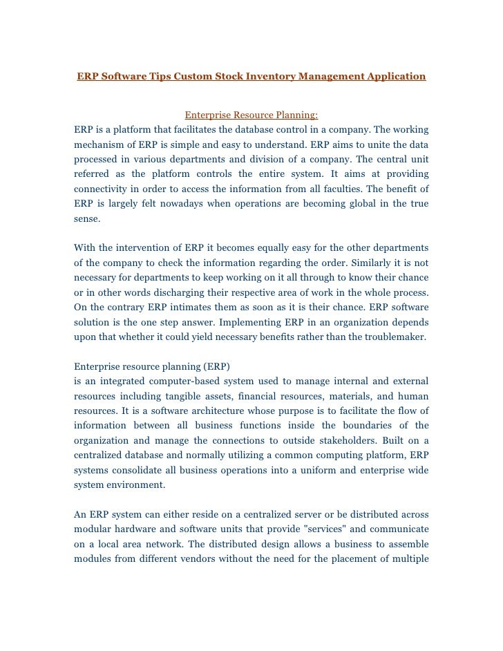 ERP Software Tips Custom Stock Inventory Management Application                          Enterprise Resource Planning:ERP ...