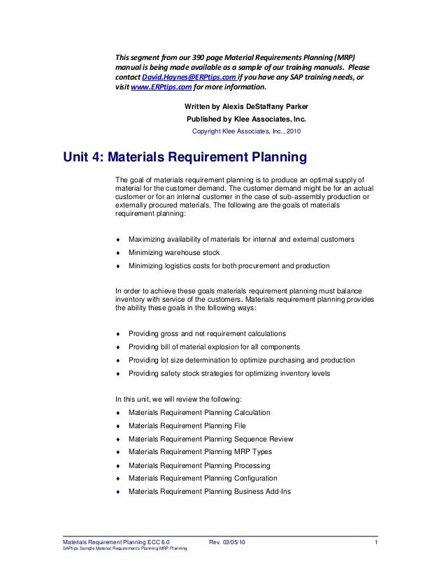 Er ptips material requirements-planning