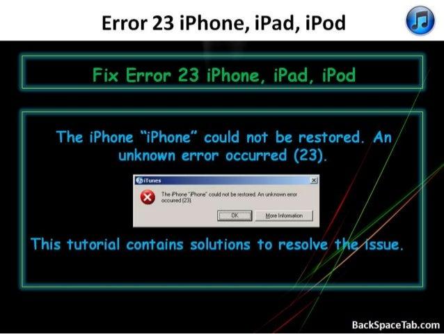 Fix Error 23 iPhone, iPad, iPod