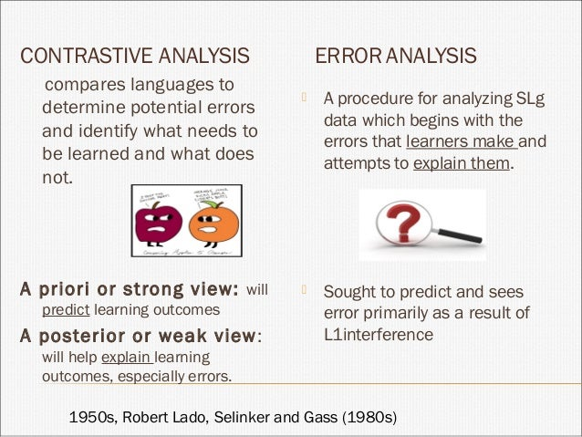 error and contrastive analysis Diagnosis error in contrastive analysis we can see contrastive analysis in teaching and learning becomes more and more popular because it has a lot of.