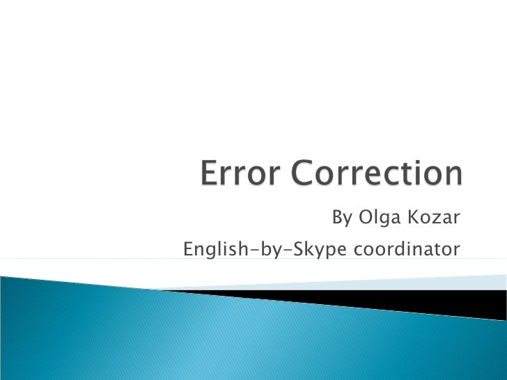Error Correction Ppt