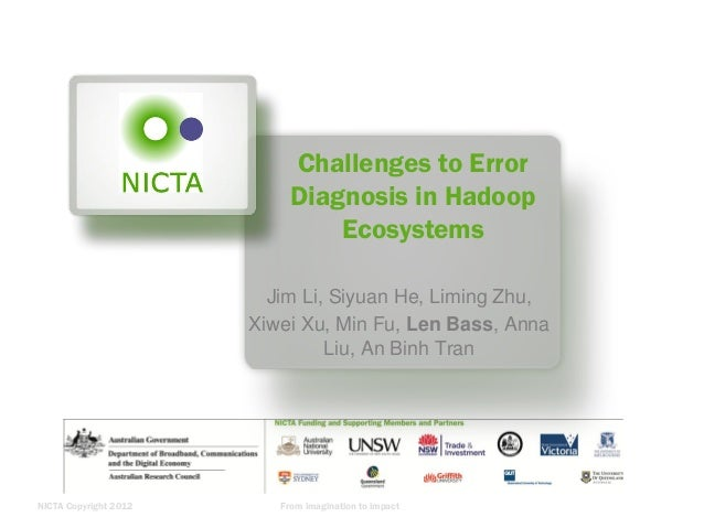 Challenges to Error Diagnosis in Hadoop Ecosystems Jim Li, Siyuan He, Liming Zhu, Xiwei Xu, Min Fu, Len Bass, Anna Liu, An...