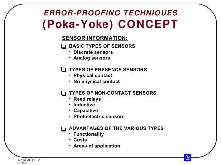 ERROR-PROOFING TECHNIQUES (Poka-Yoke) CONCEPT SENSOR INFORMATION: <ul><li>BASIC TYPES OF SENSORS </li></ul><ul><li>Discret...