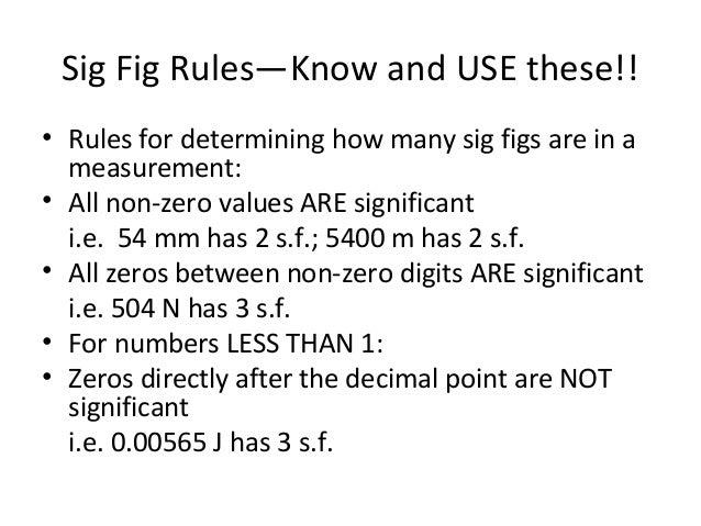 sig fig rules
