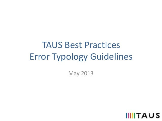 TAUS Best Practices Error Typology Guidelines