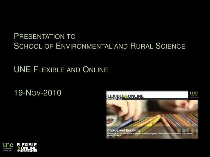 Presentation to School of ER&S 19 November 2010
