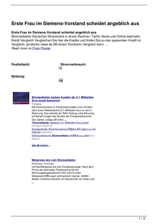 Erste Frau im Siemens-Vorstand scheidet angeblich ausErste Frau im Siemens-Vorstand scheidet angeblich ausStromanbieter De...