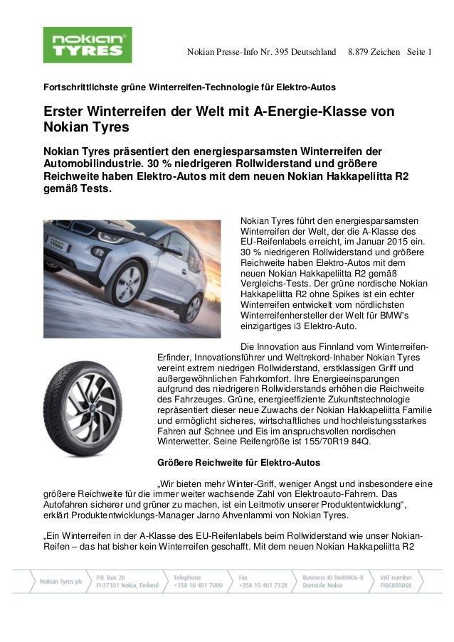 Nokian Presse-Info Nr. 395 Deutschland 8.879 Zeichen Seite 1 Fortschrittlichste grüne Winterreifen-Technologie für Elektro...