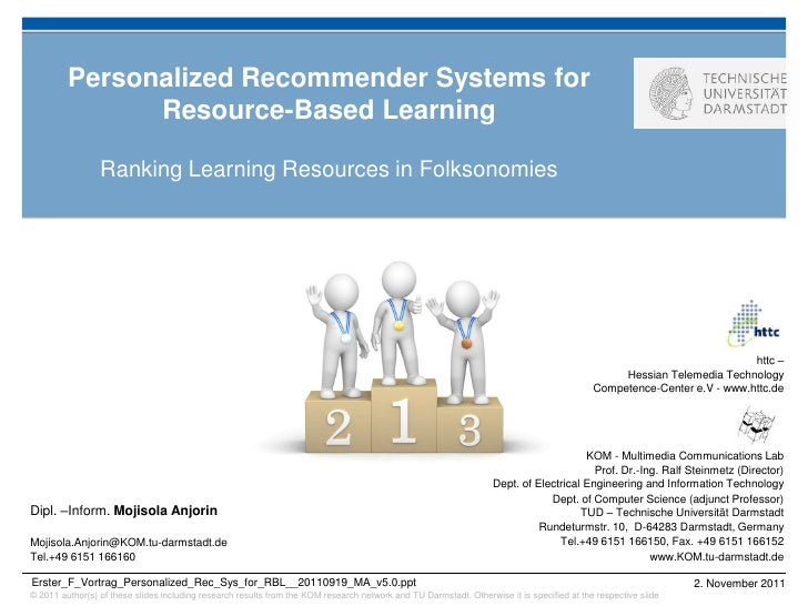 Personalized Recommender Systems for               Resource-Based Learning                 Ranking Learning Resources in F...