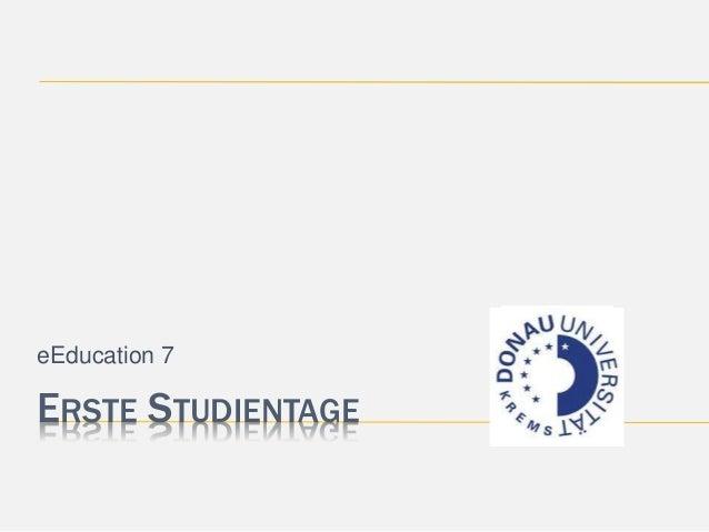 eEducation 7  ERSTE STUDIENTAGE