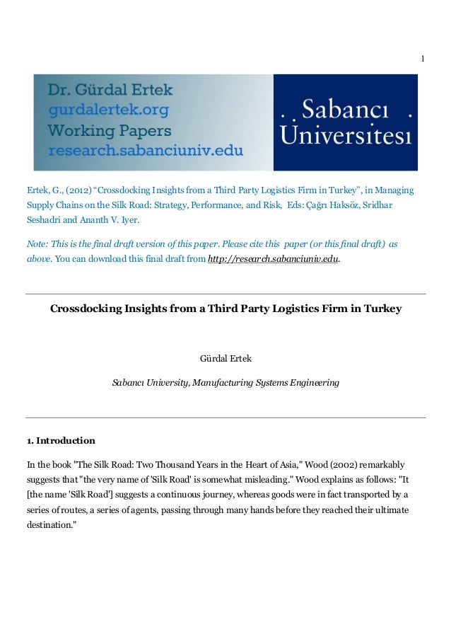 Crossdocking Insights from a Third Party Logistics Firm in Turkey