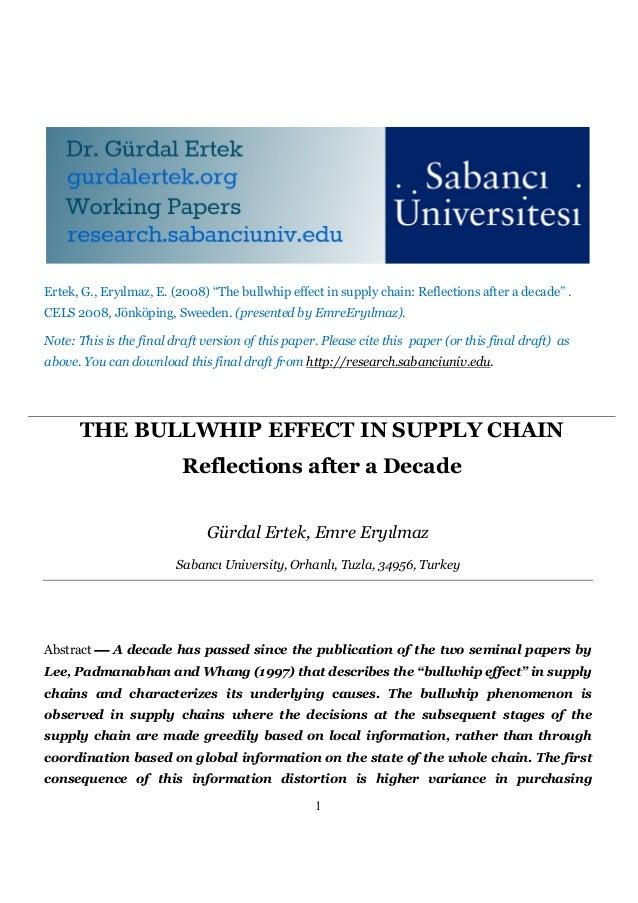 """Ertek, G., Eryılmaz, E. (2008) """"The bullwhip effect in supply chain: Reflections after a decade"""" .CELS 2008, Jönköping, Sw..."""