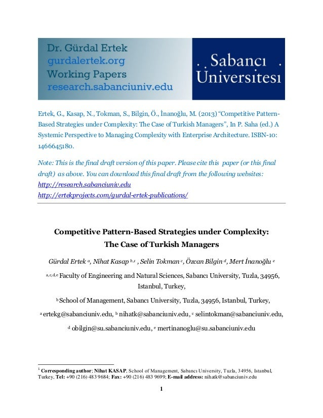 Competitive Pattern-Based Strategies under Complexity: The Case of Turkish Managers