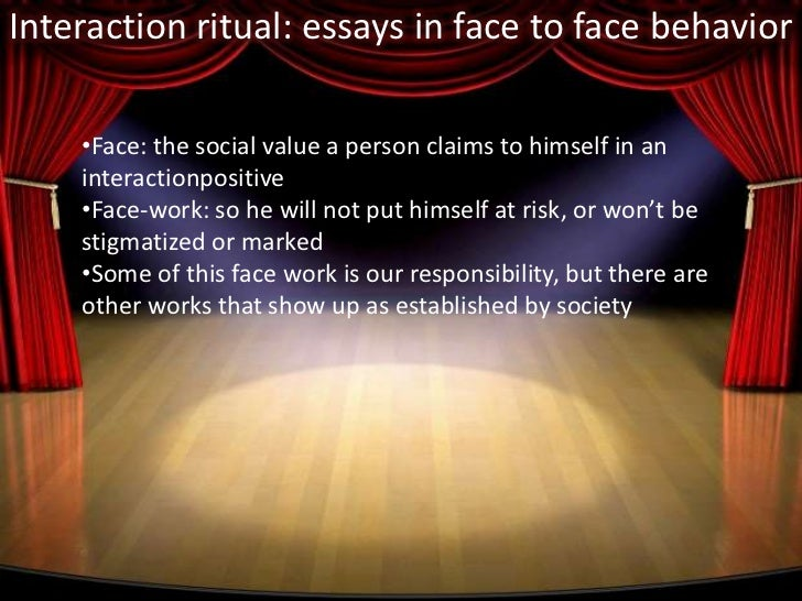 interaction ritual essays on face-to-face behavior doubleday 1967 Interaction ritual: essays on face-to-face behavior garden city: doubleday goffman, erving  interaction and linguistic structures .