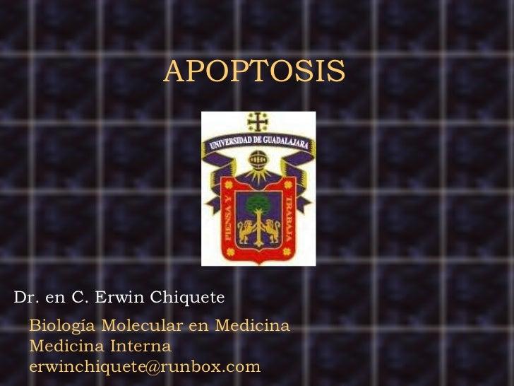 APOPTOSIS Biología Molecular en Medicina Medicina Interna [email_address] Dr. en C. Erwin Chiquete