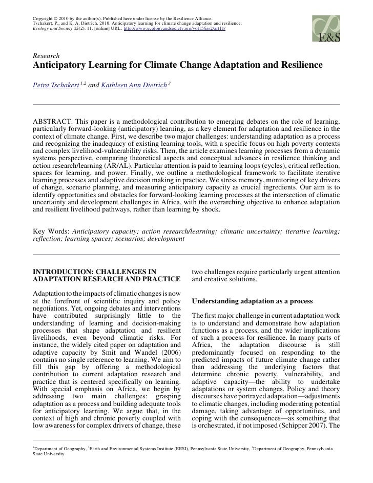 Anticipatory Learning for Climate Change Adaptation and Resilience