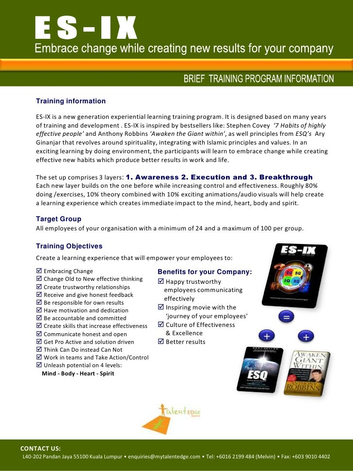 ES-IX<br />Embrace change while creating new results for your company<br />BRIEF  TRAINING PROGRAM INFORMATION<br />Traini...